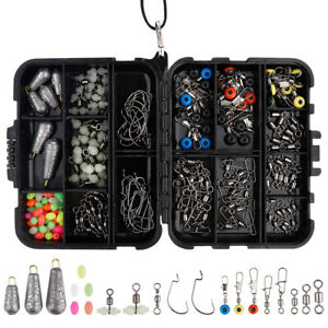 177PCS Fishing Accessories Kit set with Tackle Box Pliers Jig Hooks Swivels