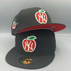 NY Yankees Apple amp; Heart 100th Anniversary New Era Fitted Black Hat Red Bottom $54.99