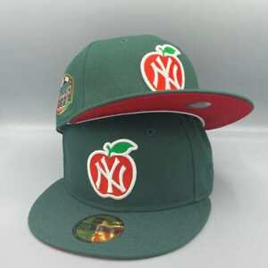 NY Yankees Apple amp; Heart 100th Anniversary New Era Fitted Green Hat Red Bottom $54.99