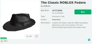 The Roblox Classic Fedora READ DESC CHEAP LIMITED 200K ROBUX