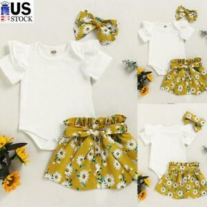 Infant Baby Girls Jumpsuit Tops Skirt Headband Outfits Set Floral Toddler Clothe $15.19