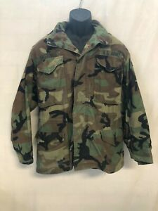 US Army Cold Weather Field Coat Jacket Woodland Camouflage Size Small Short