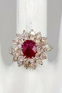 Designer $5000 4ct Natural FANCY CUT RUBY Diamond 14k White Gold HALO Ring