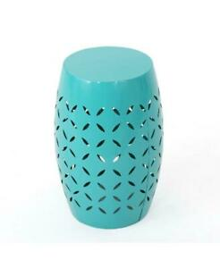 Jesse Teal Round Metal Outdoor Side Table $45.21