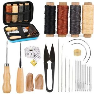 Leather Sewing Kit Large Eye Stitching Needles Waxed Thread DIY Craft Hand Tools $19.45
