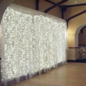 300LED 10ft Curtain Fairy Hanging String Lights Wedding Party Wall Decor Home $18.95