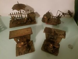 Vintage Berkeley Designs copper tin music box wind up art metal sculptures 4pcs $70.00