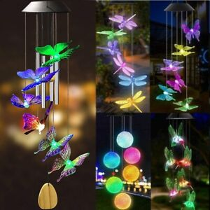 Color Changing Solar Wind Chimes Lights LED Hanging Hummingbird Ball Garden Lamp $19.99