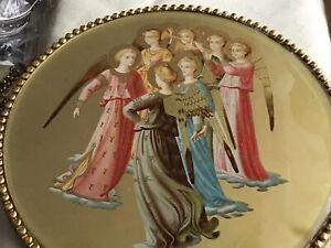 Antique Round Brass Frame Print Angels On Gold Paper 1898 Xmas Gift $68.00
