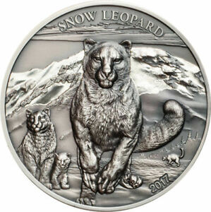 2017 Mongolia 500 Togrog Snow Leopard Antiqued 1 oz .999 Silver Coin 999 Made
