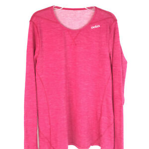 Odlo Womens Base Layer Top Size Large Long Sleeve Stretch Pink Wool blend $18.99