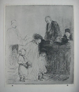 IN THE COURTROOM : French Impressionist JL FORAIN 1925 LITHOGRAPHIC of Etching GBP 14.99