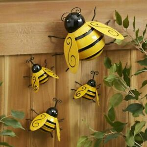 Decorative Metal Bumble Bee Garden Accents Lawn Ornaments Set of 4 $15.99