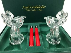 Waterford Marquis Crystals Two Angle Figure Candle Holders w Candles Christmas $29.99