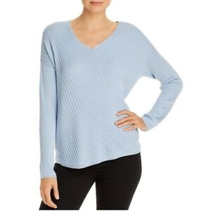 Eileen Fisher Sweater Womens Ribbed V Neck Long Sleeve Blue Top Size XL $46.95