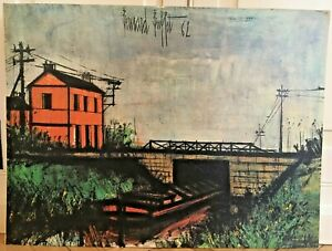 Vintage 60#x27;s Bernard Buffett quot;Canal at Meusequot; Print on Board 18x24quot; Framed $39.99