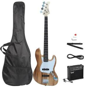 New Wood Glarry Electric Jazz 4 Strings 22 Frets Electric Bass Guitar with AMP