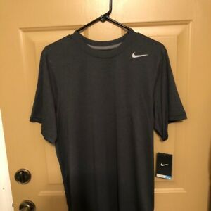 Nike Dry Fit Shirt Mens Size Small S Adult Grey Short Sleeve Top Swoosh $18.00