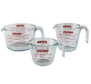 Pyrex Glass Measuring Cup Set 3 Piece Microwave and Oven SafeClear