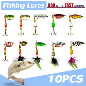10PCS Box Fishing Lures Spinnerbait for Bass Trout Salmon Walleye Spinner Baits