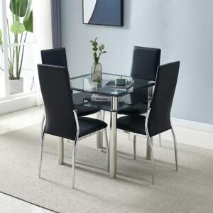 5 Pieces Dining Table Set Glass Metal 4 Leather Chairs Kitchen Room Furniture