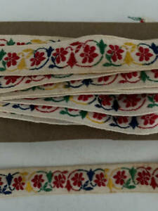 1960#x27;s Vintage Embroidered Trim Sewing Red Floral 7 Yds. 4quot; L x 3 4quot; W $12.99