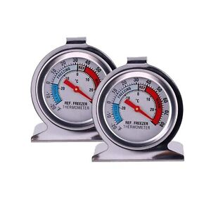 NEW 2 Pack Refrigerator Freezer Thermometer Large Dial with red indicator
