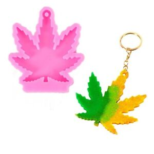 Maple Leaf Pendant Epoxy Resin DIY Keychain Silicone Mold Weed Making Mould Tool $6.59