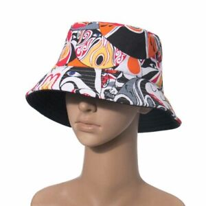Panama Chinese Style Sichuan Opera Changing Faces Print Bucket Hats Fishing Caps