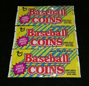 2018 Topps Archives Sealed Coin Pack Lot 3 Trout Acuna Ohtani ? C $25.00