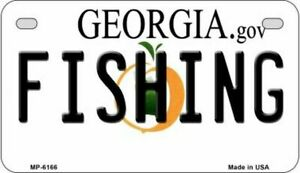 Fishing Georgia State Background Novelty Motorcycle Plate