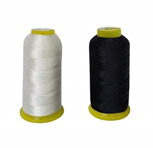 T70#69 Bonded Nylon Sewing Thread 1500 Yard Spool WhiteBlack2PCS $9.77