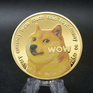 Gold Dogecoin Coins Commemorative Collectors Gold Plated Doge Coin $3.90