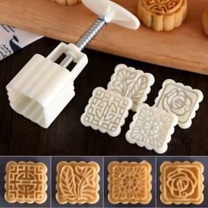 1 Set Square Flower Stamps Moon Cake Mold Pastry Mooncake Kitchen Baking Tools