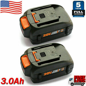 2 Pack For WORX WA3575 20V 3.0Ah MAX Li ion Battery 20Volt WA3520 WA3525 WG155s