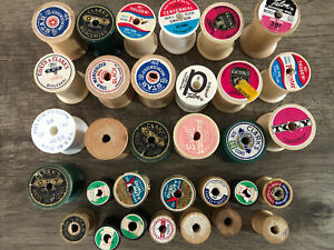 LOT 32 Vintage Thread Spools Empty STAR Coats amp; Clarks Excell Trusew Talon TGamp;Y $20.00