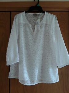 NWT CHICOS PEASANT TOP Clipped Burnout Optic White Sz 1 $26.09