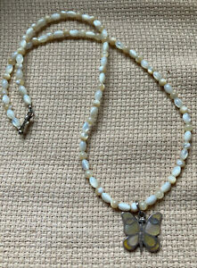 MOP BEAD NECKLACE WITH Sterling Silver Mother of Pearl BUTTERFLY PENDANT 18.5 $19.99