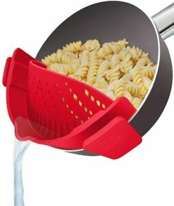 Snap Clip on Silicone Kitchen Food Pot Pan Strainer Colander for Spaghetti Pasta