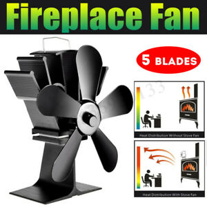 5 Blade Heat Self Powered Stove Fan For Wood Log Quiet Burner Fireplace C $56.64
