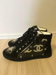 Chanel Dallas Star High Cut Sneakers Notation Size 38 Black $1571.53