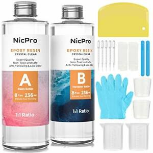 Nicpro Crystal Clear Epoxy Resin Kit 16 Ounce DIY Starter Art Resin for Craft