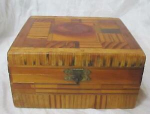Hand Made Wood Inlay and Matchstick Hinged Vintage Box $12.00