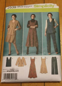Simplicity Vintage Sewing Pattern Womens Misses Dress Jumper Pants Jacket Vest $9.99