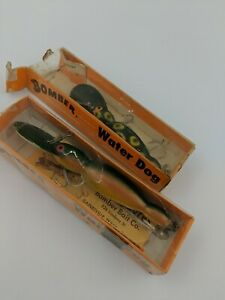 Vintage Bomber Water Dog Crankbait fishing old Lures Lot of 2 NIB for tackle box