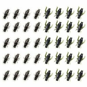 40 Pcs 2 Colors Black Cricket Shape Fishing Soft Lures Super Simulate Insect