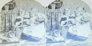 1895 Counting Papas Money Children Stereo view Stereoscope Photo Card W. Raw $12.49