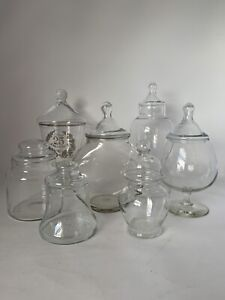 Lot Of 7 Apothecary Drugstore Candy Glass Storage Jars With Lids Preowned