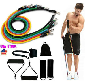 11pcs Resistance Band Rope FitnessTubes Cords Home Workout Training Crossfit $10.99