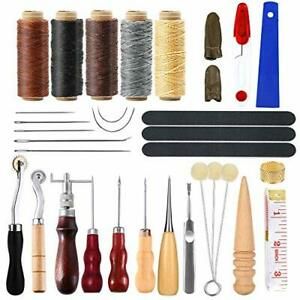 34 Pcs Leather Tool Kit Leather Working Tools and Supplies Leather Sewing Kit... $22.66